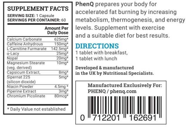 PhenQ Ingredients - PhenQ Reviews: Best Over The Counter gewichtsverlies pillen voor mannen